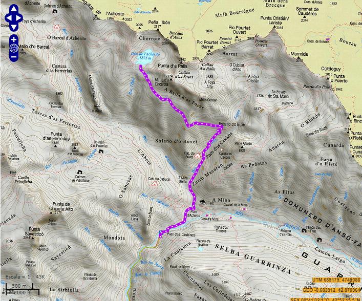 De la Mina al Ibón Acherito mapa